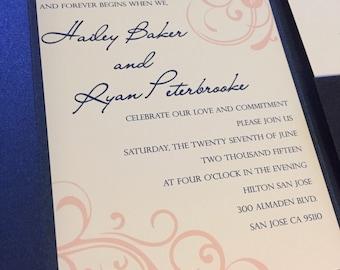 Swirls Wedding Invitation Navy Blush