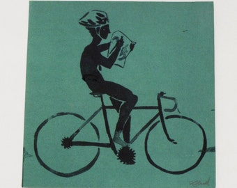 Blue bicycle screenprint