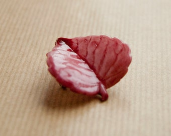 Leaf Brooch Pin Plastic Pink Vintage Autumn Leaf Pin, Fall Leaf