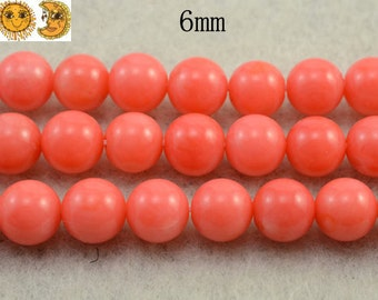 15 inch strand of Pink Bamboo Coral smooth round beads 6 mm