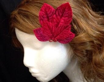 Red velvet leaf fascinator hair clip