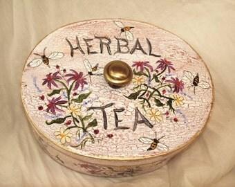 Herbal Tea Box Handpainted Original Tea Bag Holder Display Tea Garden Box Cottage Home Decor Rustic Farmhouse Herbs Bees Gardener Gift Art