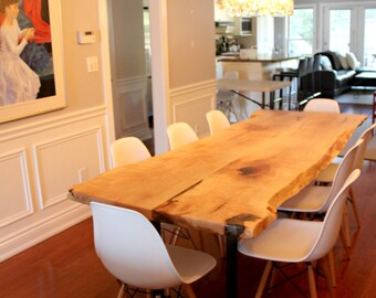 Live edge salvaged maple dining table custom stainless steel base modern design