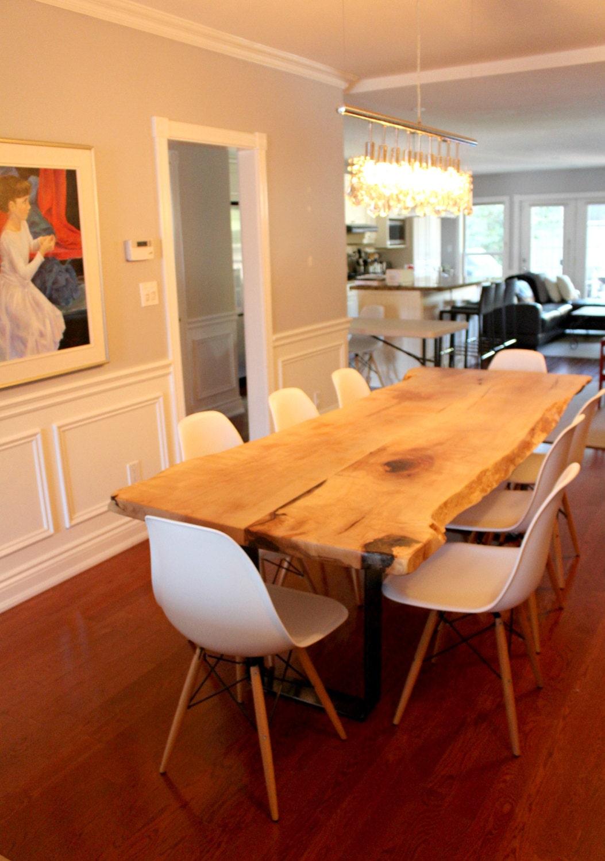 live edge salvaged maple dining table custom stainless steel. Black Bedroom Furniture Sets. Home Design Ideas