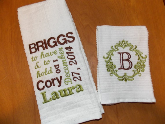 Wedding Gifts For Kitchen : Personalized Kitchen Towel Set, Wedding Gift Set, Bridal Shower Gift ...
