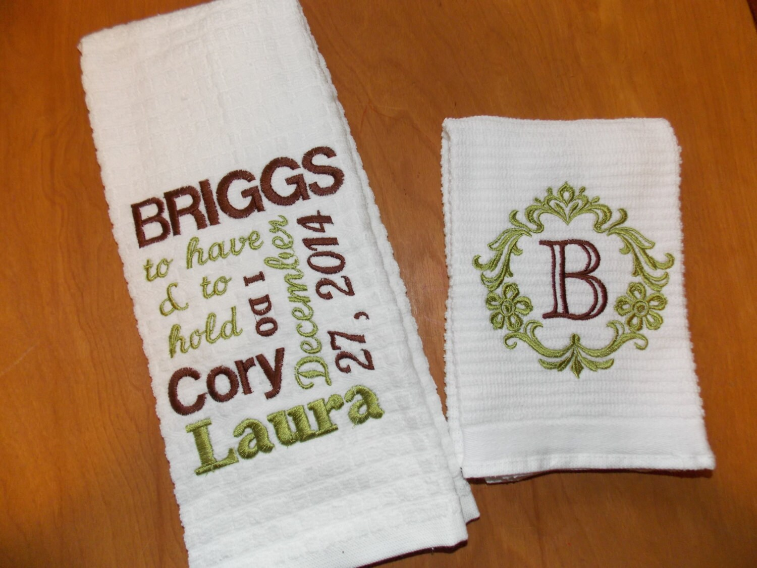 Personalized kitchen towel set wedding gift set bridal shower for Embroidered towels for wedding gift