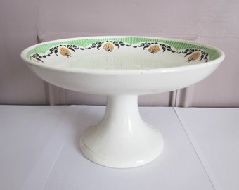 Vintage french pedestal cake plate, SARREGUEMINES, 1940, Antique, Retro Home decor, Shabby chic