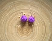 Knitting earrings,Miniature Knitting earrings,purple knitting earrings