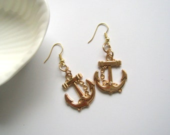 Gold color anchor earrings
