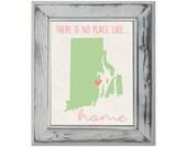 Rhode Island State Art Print - Custom 8x10 Illustration Home Decor Print - Home Is Where The Heart Is