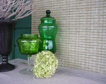 Vintage Glass Pedestal Candy Jars, Collectible Art Glass, Green Optic Glass, Instant Collection