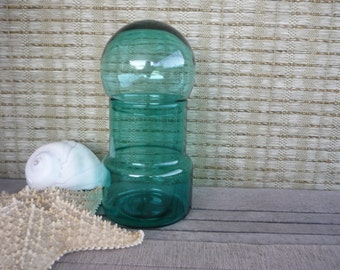 Vintage Apothecary Jar with Glass Bubble Lid, Teal Glass Storage Jar