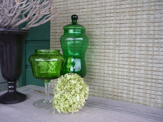 Vintage glass pedestal candy jars collectible art glass green optic