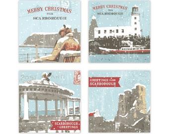 Scarborough Christmas Cards | Christmas Card pack | Yorkshire Christmas Cards | 4 pack | 12 pack | Christmas Castle | Lighthouse