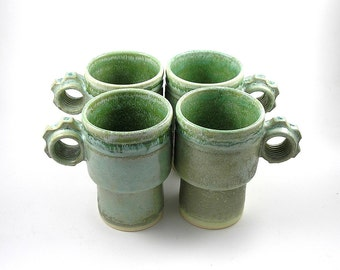 Coffee Cups in Green Patina Stackable set of 4