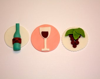 WINE COUNTRY  -  Fondant Cupcake, and Cookie Toppers - 1 Dozen