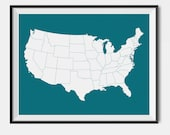 United States Color Map - Custom Color - United States Map, Gray Color, Trending Item -