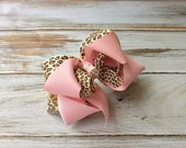 Pink and Leopard Hair Bow Boutique Bow Girls Bow with Rhinestone Animal Print Hair Bow