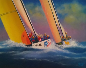 """1995 America's Cup """"Mighty Mary"""" All Women's Team - Oil on Canvas Panel - 8 x 10 inches"""