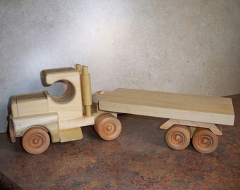 Handmade Wooden Semi Truck and Flatbed Trailer
