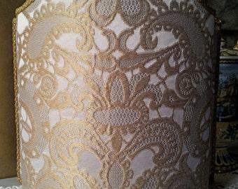 Venetian Lamp Shade Ivory and Gold Silk Lampas Rubelli Gianduja Pattern Half Lampshade - Handmade in Italy