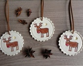 Ceramic Christmas Deer Ornaments Rudolf Holiday Pottery  Winter Home Decoration Gift Set of 3