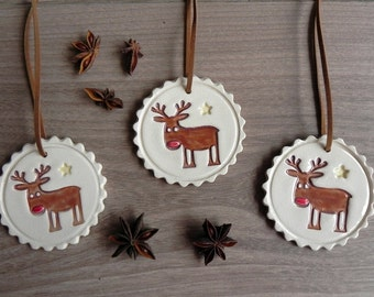 Christmas Deer Ceramic Ornaments Rudolf Holiday Pottery  Winter Home Decoration Gift Set of 3