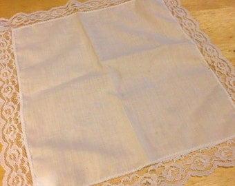 White Lace Trimmed Hankie