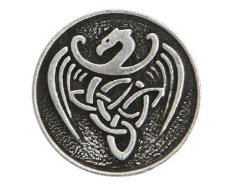 2 Celtic Dragon 15/16 inch ( 24 mm ) Pewter Buttons