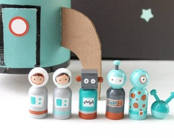 Childrens Wooden Toys - Space - Wooden Toys - Peg Dolls