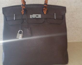 Hermes Birkin Bag HAC 40 in Brown Clemence Leather and Palladium Hardware