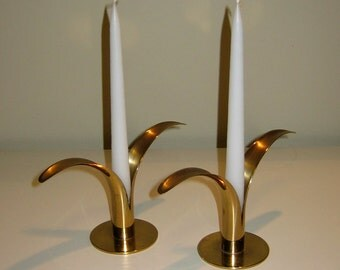 Pair Mid Century Ystad Lily Brass Candle Holders, Designed by Ivar Alenius Bjork
