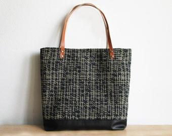 Large geometric tote bag, Casual bag, Day bag, Geometric pattern, Black