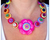 Sparkly, rainbow, flower, button necklace - statement necklace