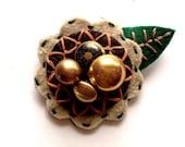 Felt Flower Pin Brooch for Women Jewelry Re-purposed Brown Green Bronze Orange