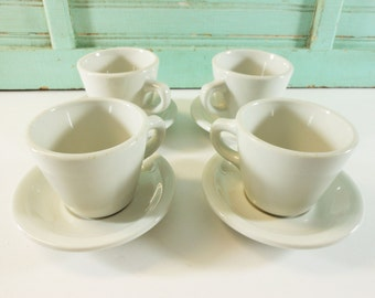 Shenango White Ironstone Coffee Cups and Saucers Diner Restaurant Ware Set of 4