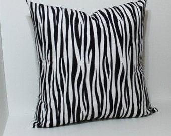 Pillow cover. black and white zebra print decorative throw pillow cover. Black white accent decor