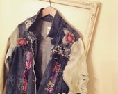 Boho denim grunge jacket ladies gypsy hippie tye dye