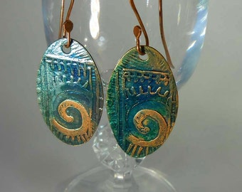 READY to SHIP Etched & Hand Forged Blue Green Tribal Solid Copper Boho Dangle Earrings CPE74