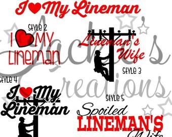 I Love My Lineman Decals