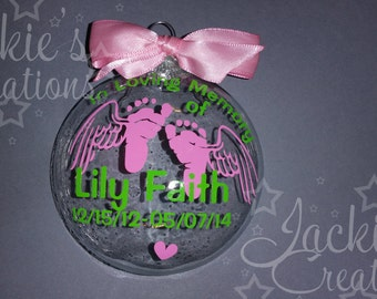 Personalized In Loving Memory of Baby Ornament with Feet and Wings