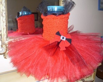 Red and Black Christmas Flower Girl Tutu Dress