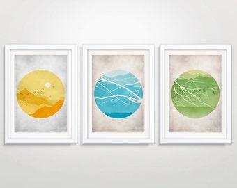 Circle Art Prints, Mid Century Modern Wall Art Set, Large Wall Art, Nature Art, Landscape Art Prints