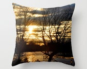 Sunset over lake photo pillow covers