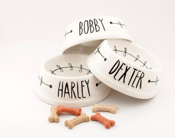 THREE  personalized black and white minimal ceramic pet bowl / pet dish Made To Order