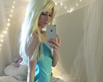 Emily // WIG SALE Beautiful Platinum Blonde, Long Straight White Wig, Synthetic Hair