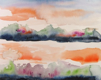 Original watercolor sunset landscape painting, 8X10 inches, orange, purple, green