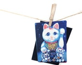 Lucky Cat greeting card, 'Lucky Mama', Blank 5x7 card with midnight blue envelope, for cat lovers