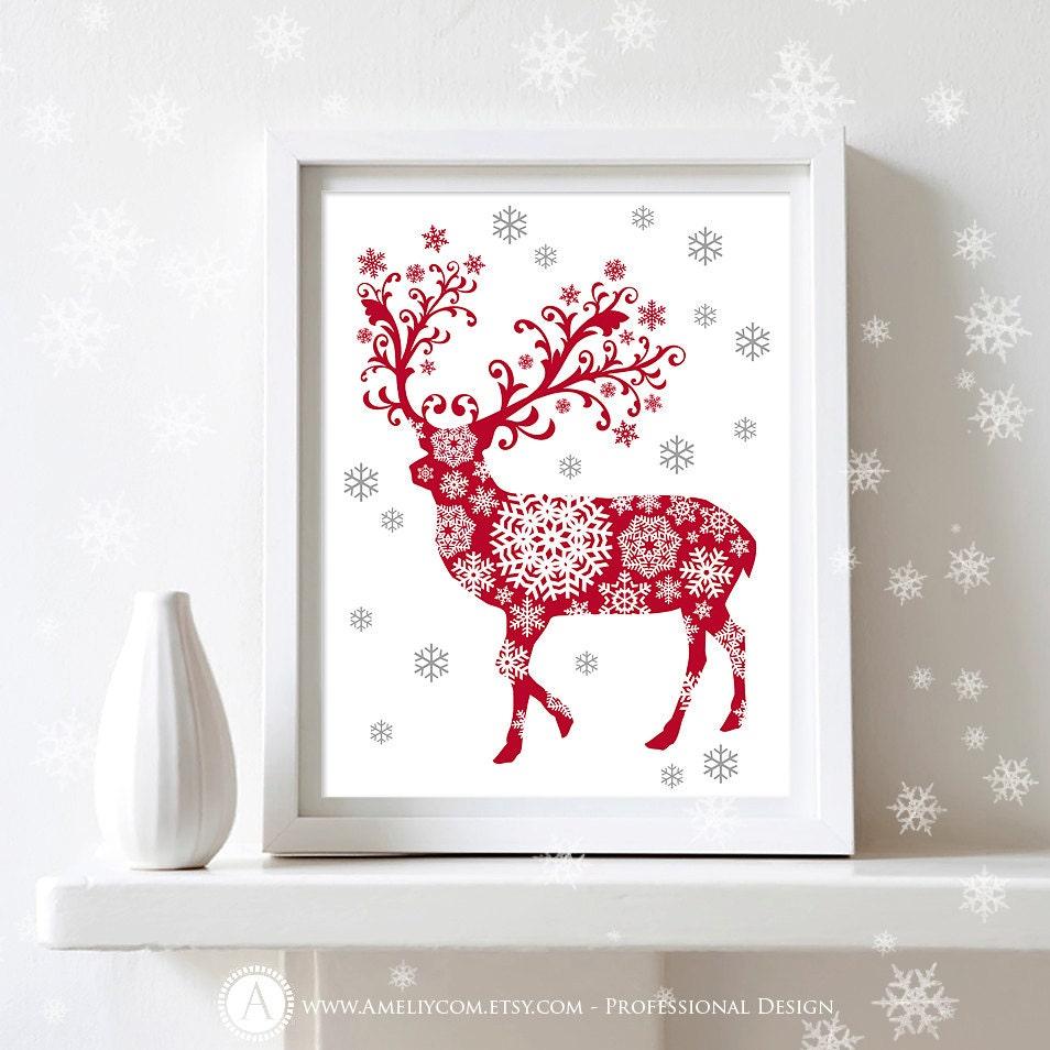 printable christmas decor poster print deer silhouette art. Black Bedroom Furniture Sets. Home Design Ideas