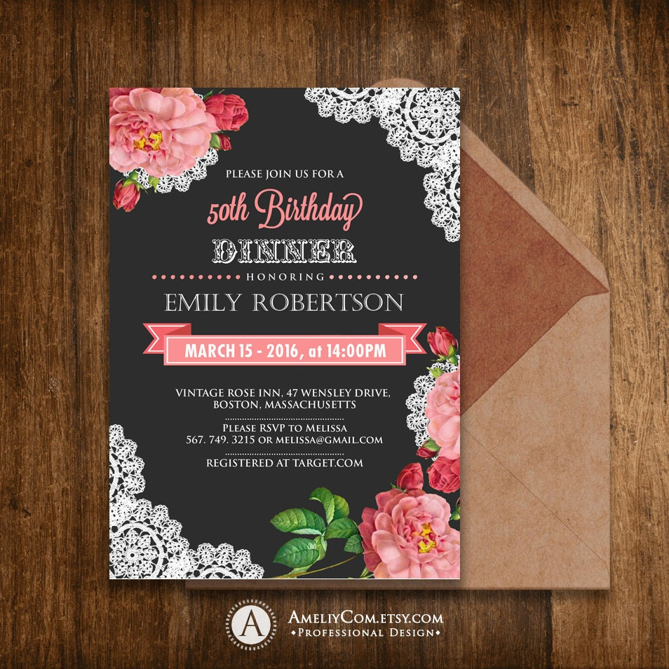 Birthday Invitations Printable Spring Girl Birthday Dinner